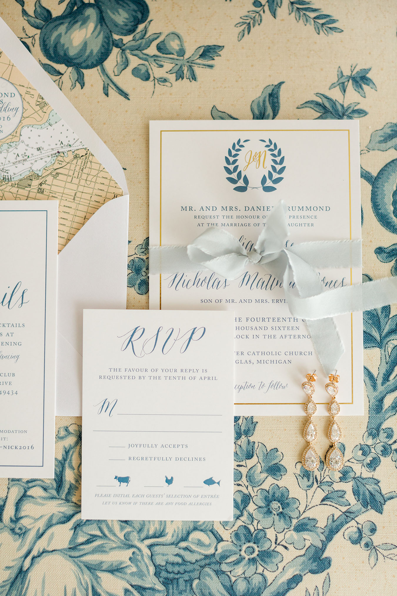 Nautical Michigan Wedding Invitation
