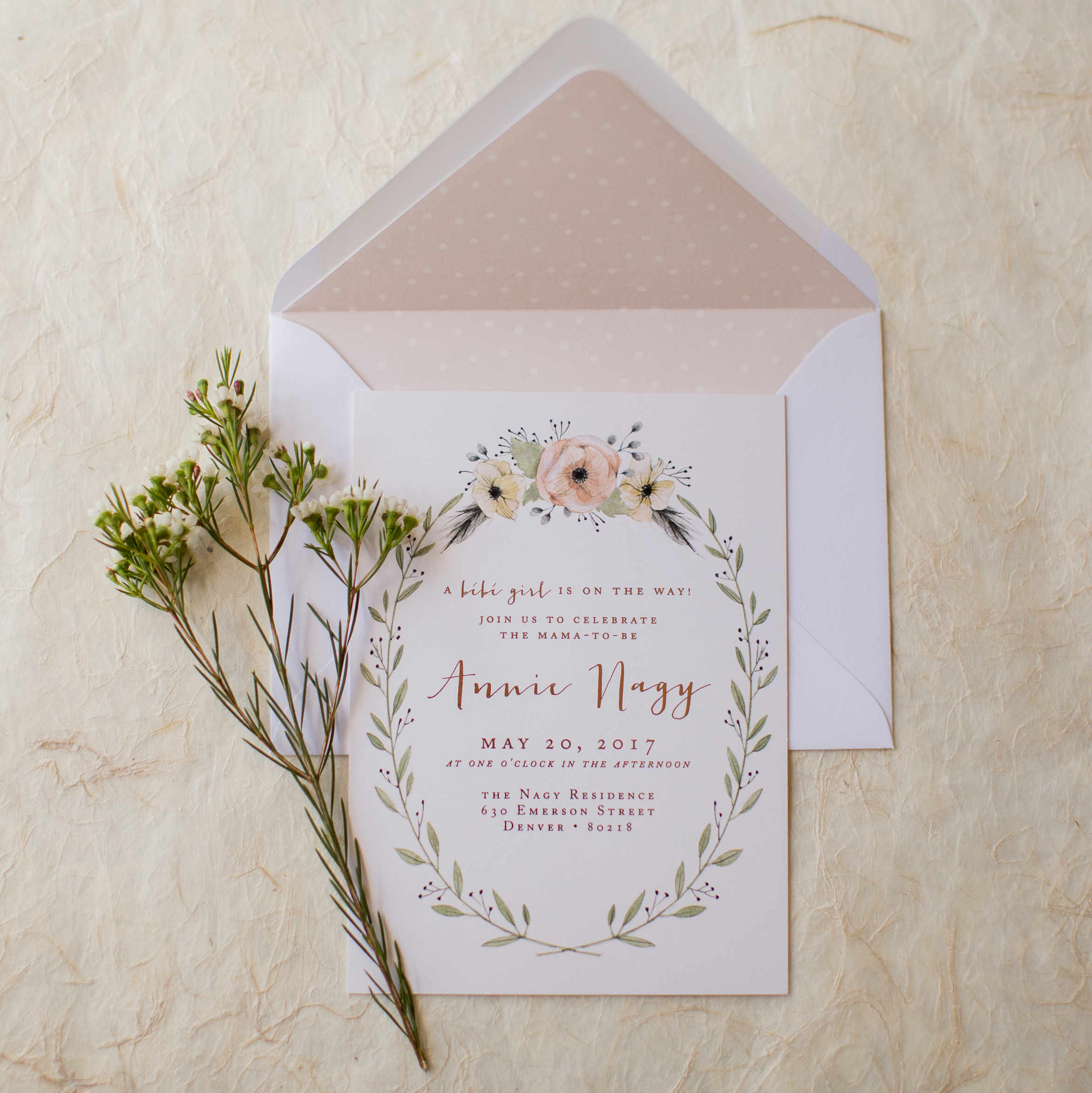 Floral + Swan Baby Shower Invitation Kailey Marie Designs