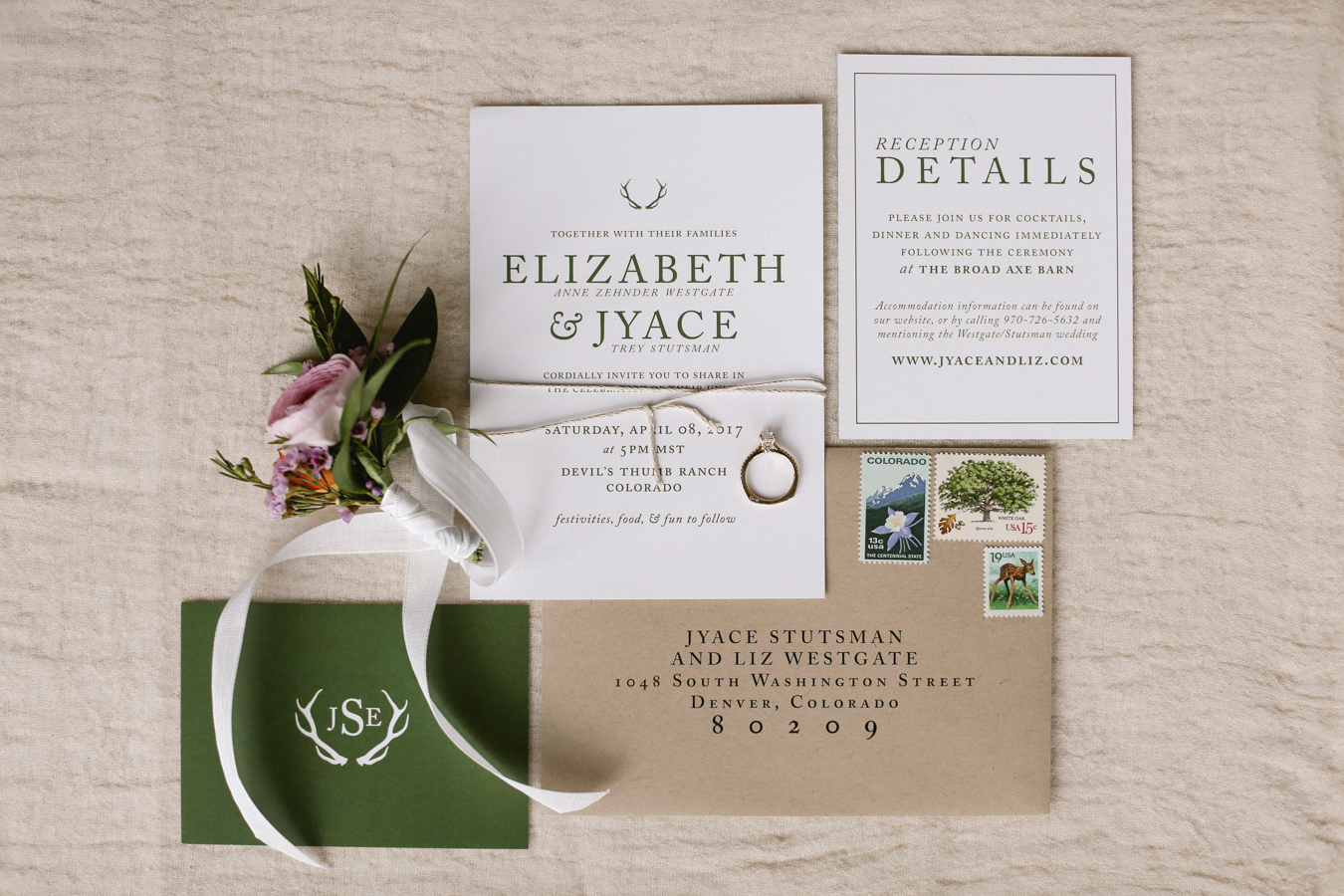 Colorado Mountain Wedding Invitation - Kailey Marie Designs