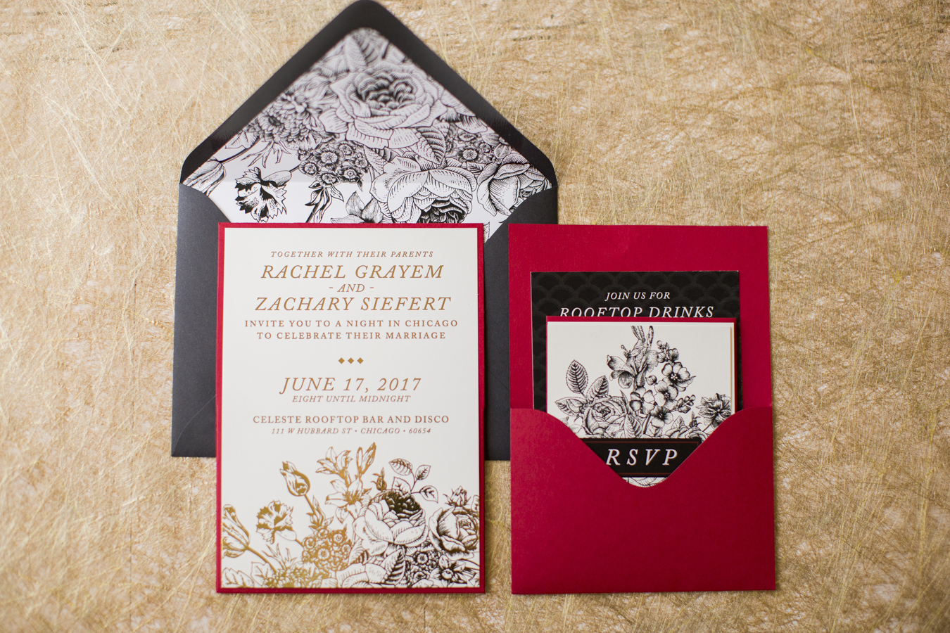 Vintage Flair Wedding Invitation